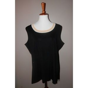 MISOOK Woman Top 2X Black Knit Tank Sleeveless